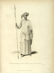 A Foot Soldier in the usual Costume of the Native Indians